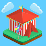 Isometric flat 3D isolated city banners with amusement park Royalty Free Stock Photo