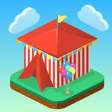 Isometric flat 3D isolated city banners with carousels. amusement park. Isometric flat 3D isolated concept  city banners with carousels. amusement park Royalty Free Stock Image