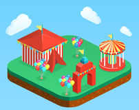 Isometric flat 3D isolated city banners with carousels. amusement park Stock Photography