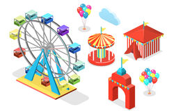 Isometric flat 3D isolated city banners with carousels. amusement park Stock Images
