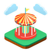 Isometric flat 3D isolated city banners with carousels. amusement park Royalty Free Stock Photo