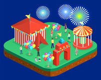 Isometric flat 3D isolated city banners with carousels. amusement park Royalty Free Stock Photography