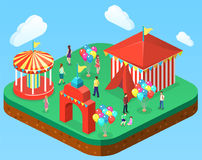Isometric flat 3D isolated city banners with carousels. amusement park. Isometric flat 3D isolated concept  city banners with carousels. amusement park Stock Photos