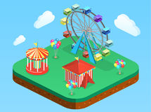 Isometric flat 3D isolated city banners with carousels. amusement park Stock Photos