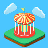 Isometric flat 3D isolated city banners with carousels. amusement park. Isometric flat 3D isolated concept  city banners with carousels. amusement park Royalty Free Stock Photo
