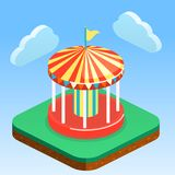 Isometric flat 3D  city banners with carousels. amusement park. Isometric flat 3D isolated concept  city banners with carousels. amusement park Royalty Free Stock Images