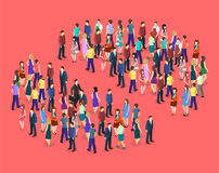Isometric flat 3D isolated concept  a crowd of people Royalty Free Stock Photo