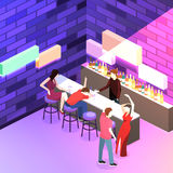 Isometric flat 3D isolated concept  cutaway Bar in the nightclub. Stock Image