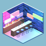 Isometric flat 3D isolated concept  cutaway Bar in the nightclub. Stock Photography