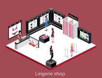Isometric flat 3D isolated concept  cutaway interior lingerie store Royalty Free Stock Image