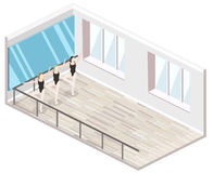 Isometric flat 3D isolated concept  cutaway interiortraining dance-hall. Isometric flat 3D isolated concept  cutaway interior empty training dance-hall with Royalty Free Stock Photo