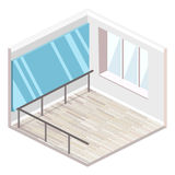 Isometric flat 3D isolated concept  cutaway interiortraining dance-hall. Isometric flat 3D isolated concept  cutaway interior empty training dance-hall with Royalty Free Stock Image
