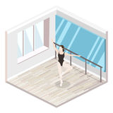 Isometric flat 3D isolated concept  cutaway interiortraining dance-hall. Isometric flat 3D isolated concept  cutaway interior empty training dance-hall with Royalty Free Stock Photography
