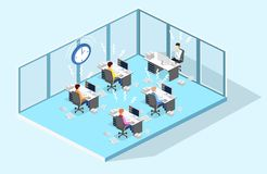 Isometric flat 3D isolated concept Deadline Concept of overworked man. Time to work Stock Photos