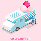 Isometric flat 3D isolated concept  ice cream truck Royalty Free Stock Photo