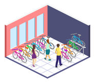 Isometric flat 3D isolated concept  interior of bicycle shop. Isometric flat 3D isolated concept  cutaway interior of bicycle shop. People choose a bike Stock Image