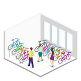 Isometric flat 3D isolated concept  interior of bicycle shop. Isometric flat 3D isolated concept  cutaway interior of bicycle shop. People choose a bike Royalty Free Stock Photography