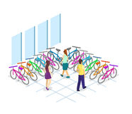Isometric flat 3D isolated concept  interior of bicycle shop. Isometric flat 3D isolated concept  cutaway interior of bicycle shop. People choose a bike Royalty Free Stock Image