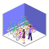 Isometric flat 3D isolated concept  interior of bicycle shop. Isometric flat 3D isolated concept  cutaway interior of bicycle shop. People choose a bike Royalty Free Stock Images