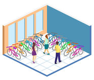 Isometric flat 3D isolated concept  interior of bicycle shop. Isometric flat 3D isolated concept  cutaway interior of bicycle shop. People choose a bike Stock Photography
