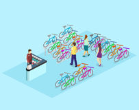Isometric flat 3D isolated concept  interior of bicycle shop. Isometric flat 3D isolated concept  cutaway interior of bicycle shop. People choose a bike Stock Images