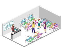 Isometric flat 3D isolated concept  interior of bicycle shop. Isometric flat 3D isolated concept  cutaway interior of bicycle shop. People choose a bike Stock Photos