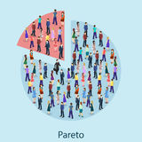 Isometric flat 3D isolated concept  pareto principle. Of factor sparsity 80-20 rule law of the vital few concept Stock Image