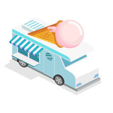 Isometric flat 3D isolated concept vector ice cream truck Royalty Free Stock Photography