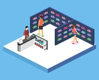 Isometric flat 3D vector interior goods for the sports shop. Isometric flat 3D isolated concept vector interior goods for the sports shop vector illustration
