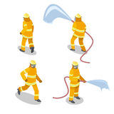 Isometric flat 3D isolated  cutaway Firefighters in action. Royalty Free Stock Photography
