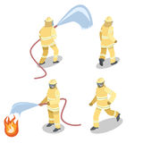 Isometric flat 3D isolated  cutaway Firefighters in action. Royalty Free Stock Image