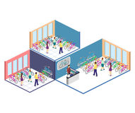 Isometric flat 3D isolated  cutaway interior of bicycle shop. Isometric flat 3D isolated concept  cutaway interior of bicycle shop. People choose a bike Stock Photos