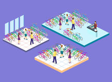 Isometric flat 3D isolated  cutaway interior of bicycle shop. Isometric flat 3D isolated concept  cutaway interior of bicycle shop. People choose a bike Stock Photo