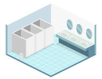 Isometric flat 3D isolated  cutaway interior of public toilet. Isometric flat 3D isolated concept  cutaway interior of public toilet Royalty Free Stock Image