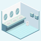 Isometric flat 3D isolated  cutaway interior of public toilet. Isometric flat 3D isolated concept  cutaway interior of public toilet Royalty Free Stock Photo
