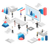 Isometric flat 3D isolated  cutaway office workplace with people. Stock Photo