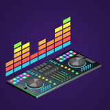 Isometric flat 3D isolated  dj console Royalty Free Stock Image