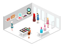 Isometric flat 3D isolated  interior cosmetics shop Royalty Free Stock Image