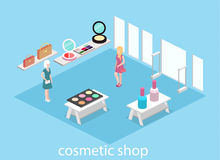 Isometric flat 3D isolated  interior cosmetics shop Stock Image