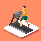 Isometric flat 3D isolated man is running on the treadmill Stock Photography