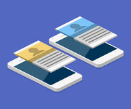 Isometric flat 3D isolated  mobile app development. Isometric flat 3D isolated concept  mobile app development Royalty Free Stock Photography
