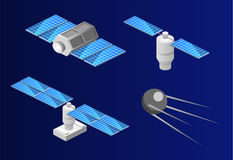 Isometric flat 3D isolated space GPS satellite. Wireless satellite technology. Stock Photography