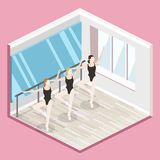 Isometric flat 3D isolated vector cutaway interior empty training dance-hall. Isometric flat 3D isolated concept vector cutaway interior empty training dance Royalty Free Stock Photo