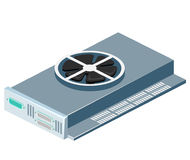 Isometric flat 3D isolated vector video card computer technology equipment Stock Photos