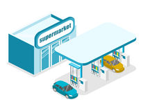 Isometric flat 3D  outside Gas station, petrol station. Isometric flat 3D concept  outside Gas station, petrol station Royalty Free Stock Photos