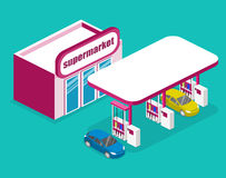 Isometric flat 3D  outside Gas station, petrol station. Isometric flat 3D concept  outside Gas station, petrol station Royalty Free Stock Photo