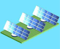 Isometric flat 3D  outside solar panels. Isometric flat 3D concept  outside solar panels Royalty Free Stock Images