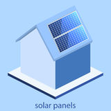 Isometric flat 3D  outside solar panels on house Royalty Free Stock Image
