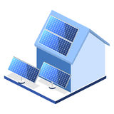 Isometric flat 3D  outside solar panels on house Royalty Free Stock Photos