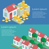 Isometric flat 3D   property Investment concept. House and real estate money investment Royalty Free Stock Photography